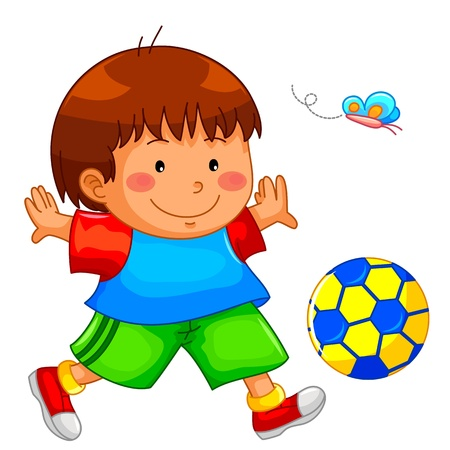 little boy playing with his ball Vector