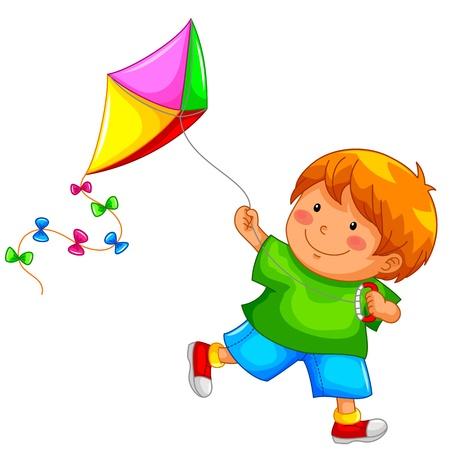 papalote: muchacho que vuela una cometa Vectores