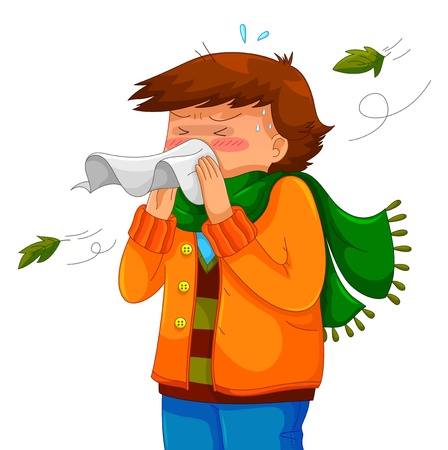 person blowing his nose in a chilly weather Vector