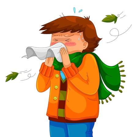 sneezing: persona che soffia il naso in un tempo freddo Vettoriali