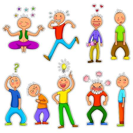 personalidad: conjunto de caracteres del doodle con diferentes personalidades