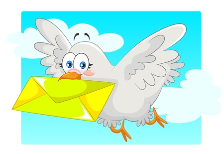 pigeon carrying a letter Stock Vector - 16902454