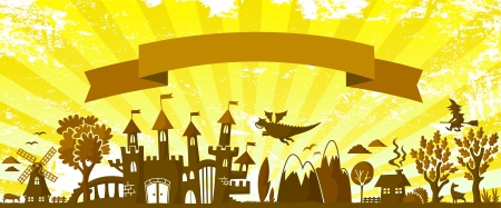 grungy background: fairytale themed silhouette and a banner on grungy background Illustration