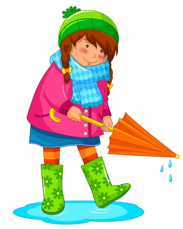 rainy season: girl with umbrella standing in a puddle