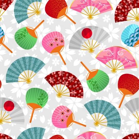 seamless pattern with fans japonais Vecteurs