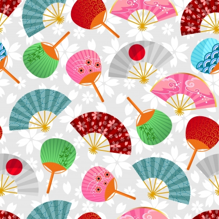 japanese fan: seamless pattern with Japanese fans Illustration