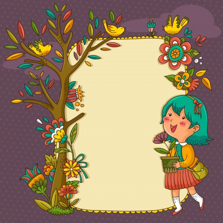 tree planting: frame with flowers, tree and a cheerful girl holding a flower pot