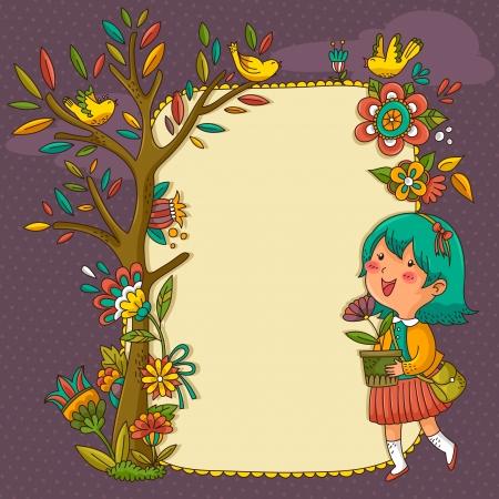 baum pflanzen: Rahmen mit Blumen, B�umen und einem fr�hlichen M�dchen h�lt einen Blumentopf