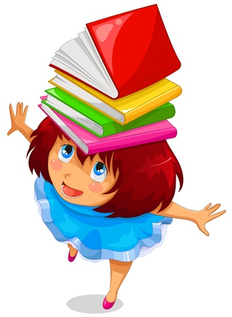 menina com livros em sua cabeça Ilustração