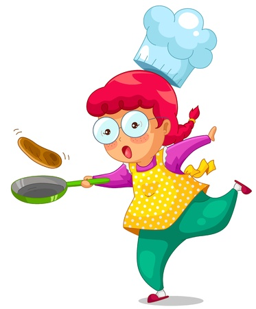 little girl cooking with a frying pan Vector