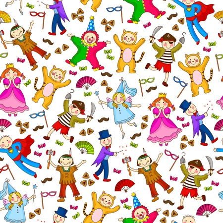 purim: seamless pattern with kids wearing costumes