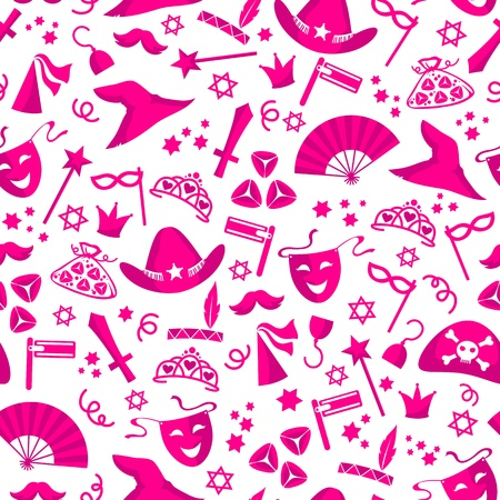 purim: seamless pattern for Purim  jewish holiday that involves costumes