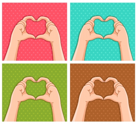 hands creating hearts shapes Stock Vector - 17453409
