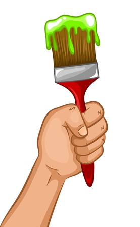 hand holding a paintbrush Stock Vector - 17453405