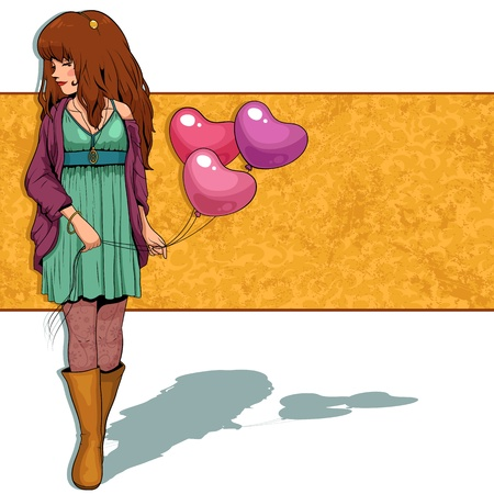 girl holding heart shaped balloons Vector