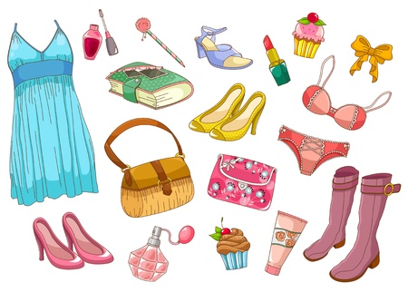 collection of fashionable girlish items Vector