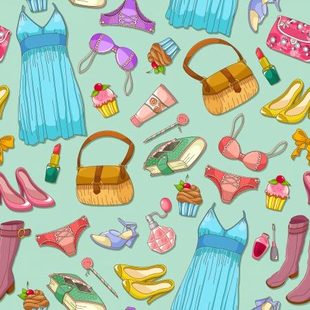 girlish: seamless pattern with girlish items