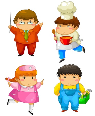 cute characters in outfits of different profession Vector
