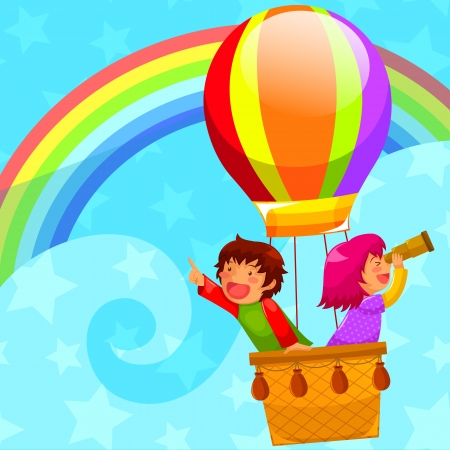 exploring: happy kids flying in a hot air balloon