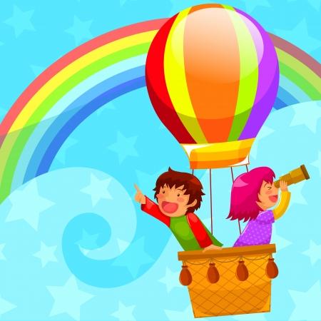 niños felices volando en un globo de aire caliente