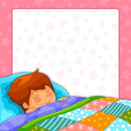 niño dormido sobre el fondo estrellado, con copia espacio Ilustración de vector