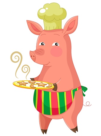 cartoon pig serving cookies Vector