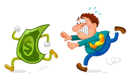 cartoon money: worker chasing a sneaky dollar