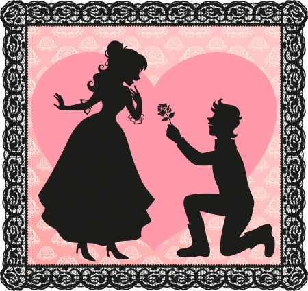 courting: silhouette of a gentleman giving a flower to a lady