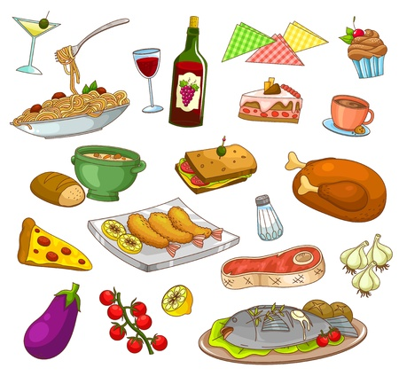 collection of restaurant food and dishes  Vector