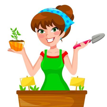 junge Frau Pflanzung Kräutern in ihrem Blumenkasten Vektorgrafik