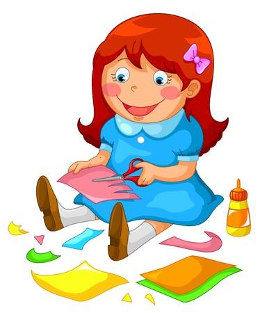 pegamento: niña haciendo manualidades de papel