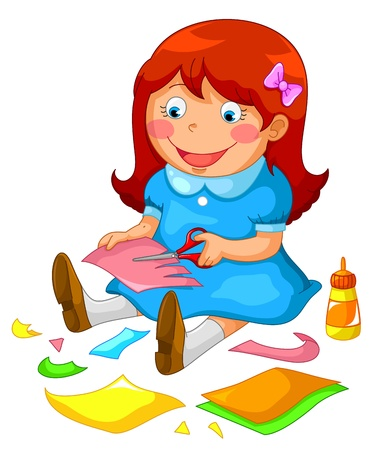 pegamento: ni�a haciendo manualidades de papel