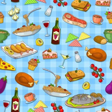 food and wine: seamless pattern with delicious food