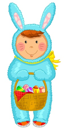 disguise: kid wearing Easter costume Illustration