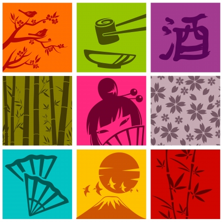 asian culture: set of elements from Japanese culture Illustration