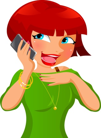 Talking on the phone: girl talking on the cell phone Illustration