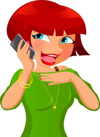 ragazza al telefono: ragazza parla al telefono cellulare