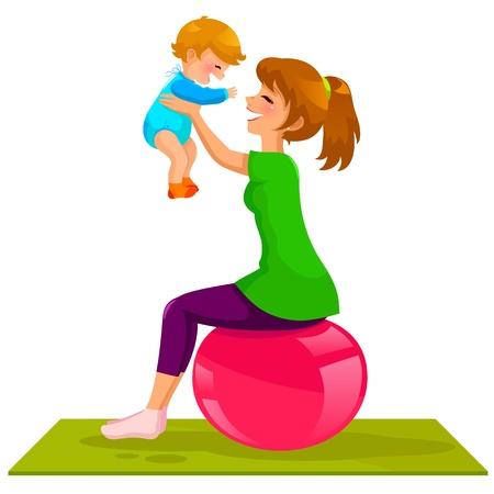 어머니의: 체조 공에 그녀의 아기와 함께 재생하는 젊은 어머니 일러스트