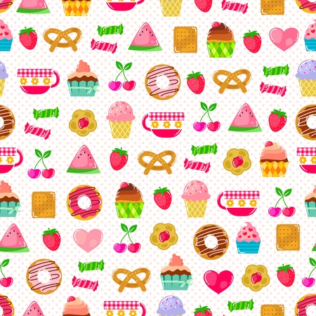 seamless pattern with sweets, fruit and other cute things  Pattern swatch included in the file