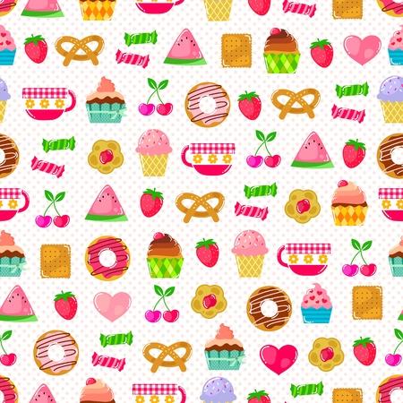 candies: seamless pattern avec des bonbons, des fruits et d'autres swatch mignon mod�le choses incluses dans le fichier