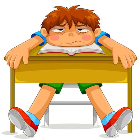 niños estudiando: estudiante sentado en la clase con aire aburrido y deprimido