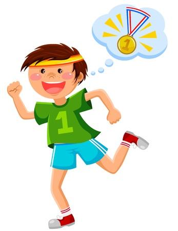 ambi��o: menino correndo e pensando de uma medalha de ouro Ilustra��o