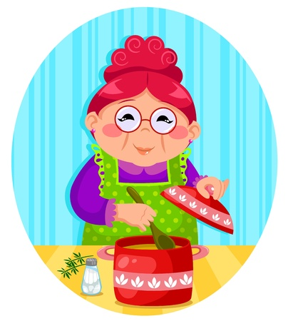 happy woman cooking soup Vector