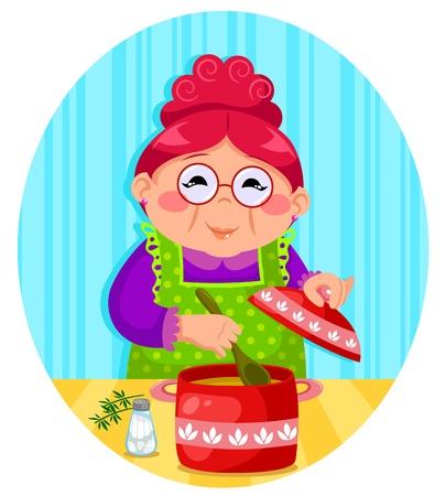 abuela: Sopa de cocina mujer feliz Vectores