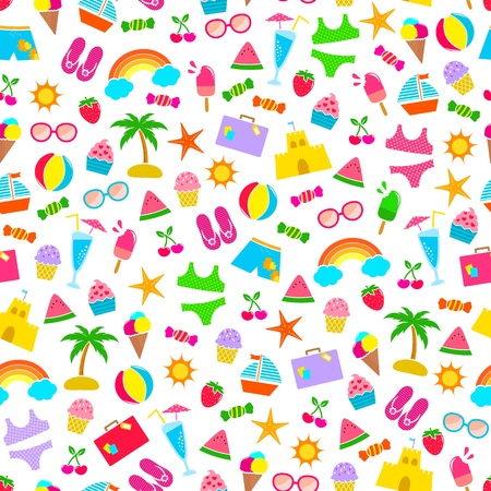 seamless pattern with summer icons Stock Vector - 18585380