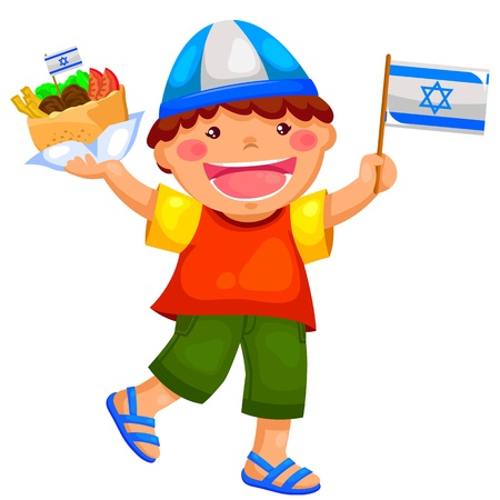 and israel: kid holding the Israeli flag and eating falafel Illustration