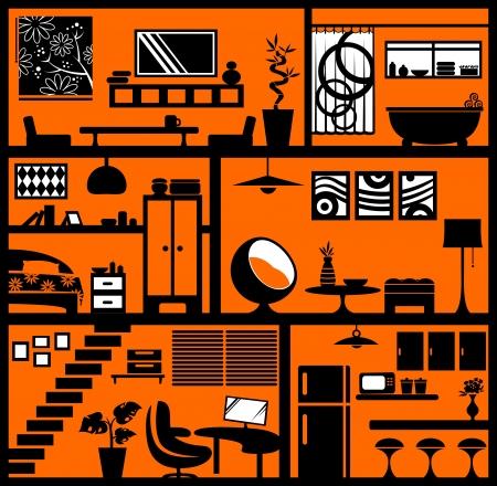 planlama: farklı oda tasarımları her öğesi kolay düzenleme için ayrı ayrı gruplandırılmış Çizim