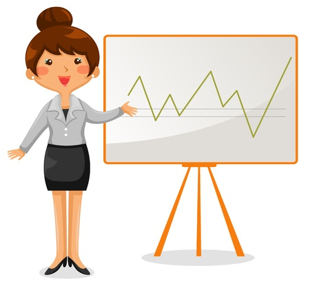 explaining: business woman presenting a chart on the whiteboard