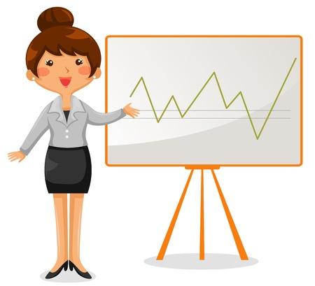 whiteboard: zakelijke vrouw met een grafiek op het whiteboard