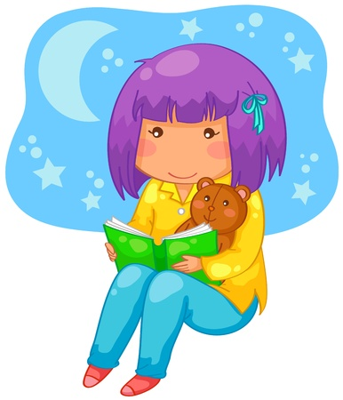 little girl reading a book at night Vector